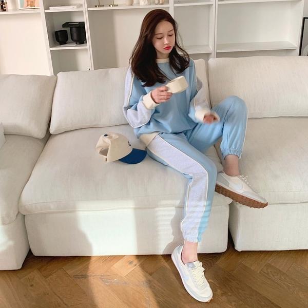 韓國製.青春活力拼色圓領長袖上衣+舒適口袋鬆緊長褲.白鳥麗子