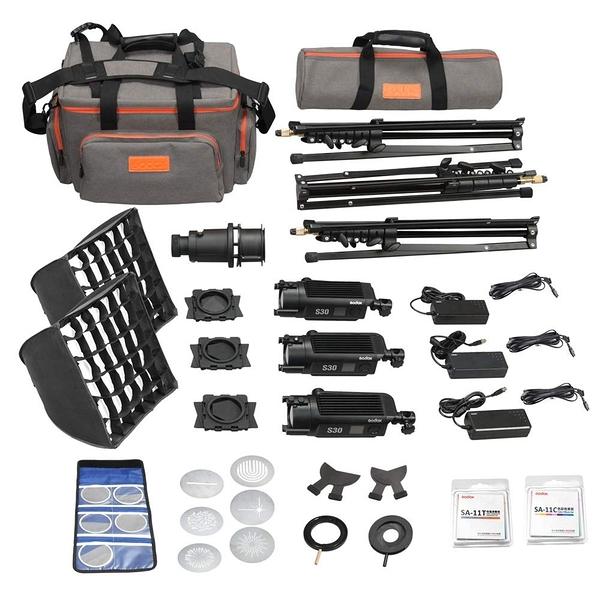【三燈套組】GODOX LED-S30 3 heads kit SA-D 三燈套裝組 亮度可調(10%-100%) 【開年公司貨】