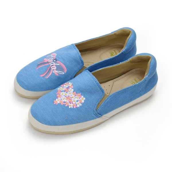 Paidal 心之花圃蝴蝶結緞帶電繡懶人鞋樂福鞋休閒鞋-藍