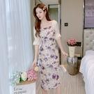 VK精品服飾 韓國風復古碎花仙女森系收腰氣質女神長裙短袖洋裝