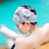 時尚泳帽女長發成人女士加大不勒頭時尚溫泉大碼PU蕾絲游泳帽  朵拉朵衣櫥