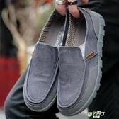 老北京布鞋男一腳蹬懶人休閒透氣男士帆布鞋大碼男鞋碼夏季【快速出貨】