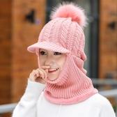帽子女冬季毛線帽加厚冬天騎車防風護耳帽加絨保暖圍脖連體針織帽