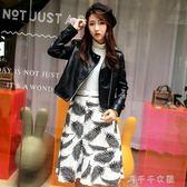 8201#皮衣女短款韓版機車pu皮夾克修身顯瘦黑色女士小外套千千女鞋