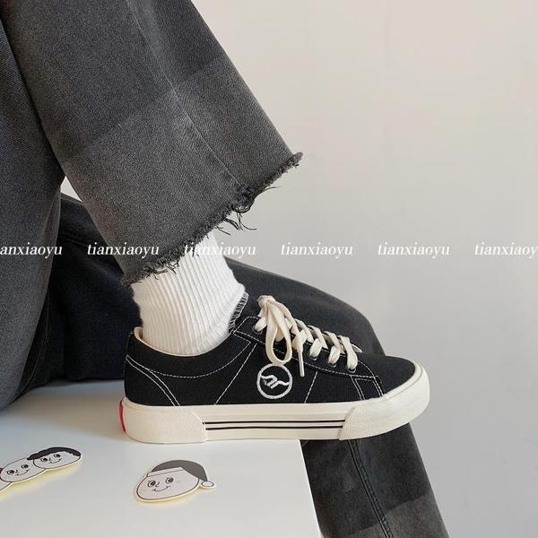 黑色帆布鞋女ulzzang2020新款秋冬韓版學生百搭鞋子板鞋平底ins潮 【端午節特惠】