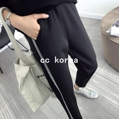 現貨白L 拼接邊條休閒運動褲 CC KOREA ~ Q15842