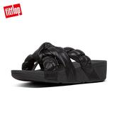 限定優惠價!【FitFlop】扭結系列 PLATT LEATHER TOE-THONGS 髮辮造型設計夾腳涼鞋(黑色)