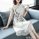 春裝2021年新款女典雅貴夫人媽媽中長款復古印花旗袍改良版連衣裙 蘿莉新品