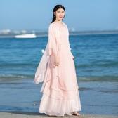 民族風套裝-盤扣女裝改良漢服旗袍雪紡連身裙套裝兩件套茶服禪 超值價