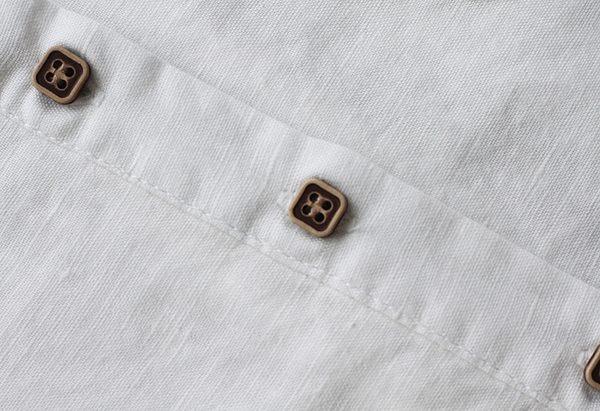 東京奈奈日系立領長袖修身顯瘦棉麻連身裙[j09426]