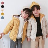 兒童菱格連帽鋪棉外套 厚外套 長袖外套 連帽外套 中性款 保暖 外套 女童 男童 橘魔法