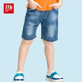 JJLKIDS 男童 口袋條紋拼接刷白牛仔五分褲(牛仔藍)