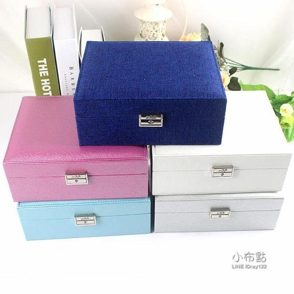 85折免運-雙層首飾盒公主歐式正韓收納盒手飾品木質帶鎖耳環收納盒結婚禮物WY