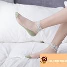 3雙 襪子棉薄款網紗女蕾絲襪花邊水晶珍珠短襪淺口【小獅子】