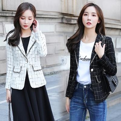 小香風格子西裝外套女韓版氣質休閒短款小西服上衣7231秋季F3062紅粉佳人