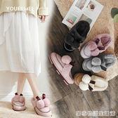 新款秋冬時尚厚底棉拖鞋女包頭女士毛毛鞋子防滑外穿  居家物語
