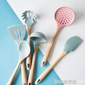 日式硅膠廚房廚具木把不黏鍋鏟耐高溫湯勺家用烹飪器具 印象家品旗艦店