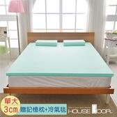 House Door 抗菌防螨布套 3cm記憶床墊超值組-單大3.5尺(水湖藍)