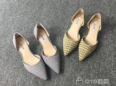 格子貓跟鞋單鞋女春季新款低跟百搭高跟鞋女細跟5cm中跟黃色 ciyo黛雅