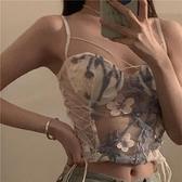 設計感綁帶蕾絲刺繡吊帶背心女外穿2021早春夏季新款爆款辣妹上衣 韓國時尚週