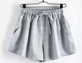 夏季新款韓版棉麻格子短褲女潮寬鬆大碼顯瘦學生寬管裙褲休閒熱褲 滿天星