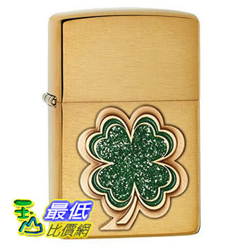 [104 美國直購] Zippo Pocket Lighter Brushed Brass Shamrock Emblem Pocket Lighter 打火機