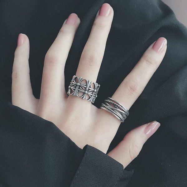 戒指歐美混搭復古戒指女日韓簡約潮流十字架朋克個性男女士莎瓦迪卡