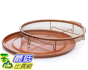 [8美國直購] 拖盤 Gotham Steel Round Copper Air Fry Crisper Tray Pizza Baking Pan 2 Piece Set