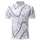 FINDSENSE H1 2018 夏季 黑白 幾何圖案 簡約 百搭 Polo衫