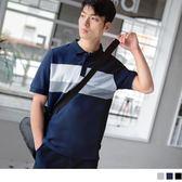 《KL0415》休閒高含棉撞色條紋短袖POLO衫 OrangeBear
