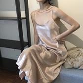 LGGDJDZ chic風復古絲滑綢緞中長裙吊帶露背裙