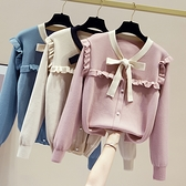 VK精品服飾 韓國風木耳邊蝴蝶結針織衫學院風長袖上衣