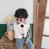 兒童馬甲秋冬裝毛衣寶寶針織背心線衫格子襯衫坎肩衣服 樂淘淘