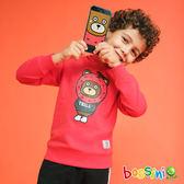 荔枝熊連帽厚棉T恤紅色-bossini男童