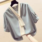 雪紡衫女短袖超仙氣質襯衫很仙的上衣遮肚子顯瘦洋氣小衫
