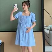 漂亮小媽咪 實拍 韓系 方領 洋裝 【D5702】泡泡袖 短袖 棉麻 純色 連衣裙