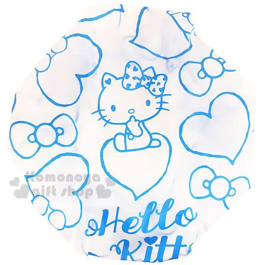 〔小禮堂〕Hello Kitty 浴帽《藍.坐姿.愛心.蝴蝶結》 4712977-46260