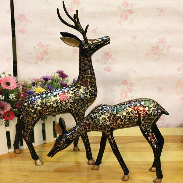 巴基斯坦銅器手工藝品進口銅雕動物20英寸情侶福壽富貴對鹿BT65581入