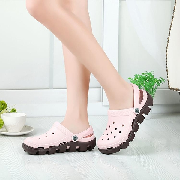 洞洞鞋女韓版學生可愛沙灘鞋涼鞋女厚底情侶防滑休閒包頭拖鞋錢夫人小鋪
