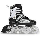 輪滑溜冰鞋黑色輪子鞋直排套裝可調碼兒童男女旱冰鞋閃光輪 阿卡娜