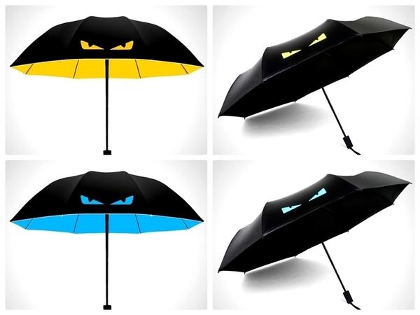 【小惡魔黑膠傘】0透光防曬黑膠塗層三折傘 抗UV遮陽傘 摺疊傘 晴雨傘 兩用雨傘 折疊傘 防風傘
