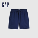 Gap男裝 簡約風格純色鬆緊短褲 841941-深藍色