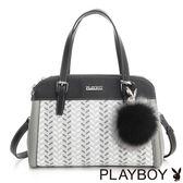 PLAYBOY- 2WAY手提包 Wheat Rabbit 兔耳麥穗系列-麥穗灰