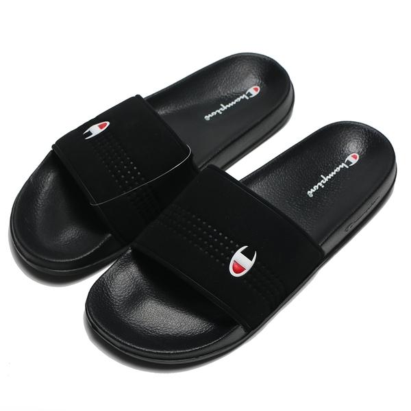CHAMPION 拖鞋 全黑 小LOGO 運動拖 男女 (布魯克林) UFLS003311