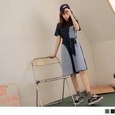 《DA7999-》格紋造型拼接排扣綁帶短袖洋裝 OB嚴選