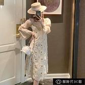 2021年春夏裝新款法式初戀桔梗裙氣質蕾絲收腰顯瘦女人味連衣