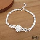 §海洋盒子§優雅銀白玫瑰花朵S999純銀手鍊