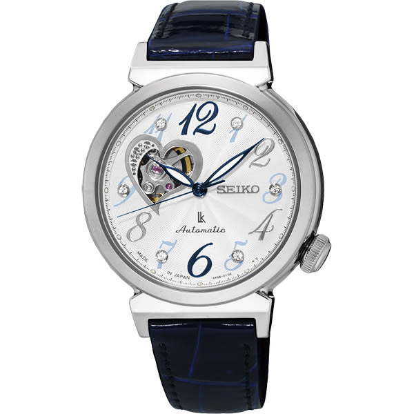 SEIKO 精工 LUKIA 愛戀開芯經典機械錶-銀x藍色錶帶/34mm 4R38-01C0B(SSA843J1)