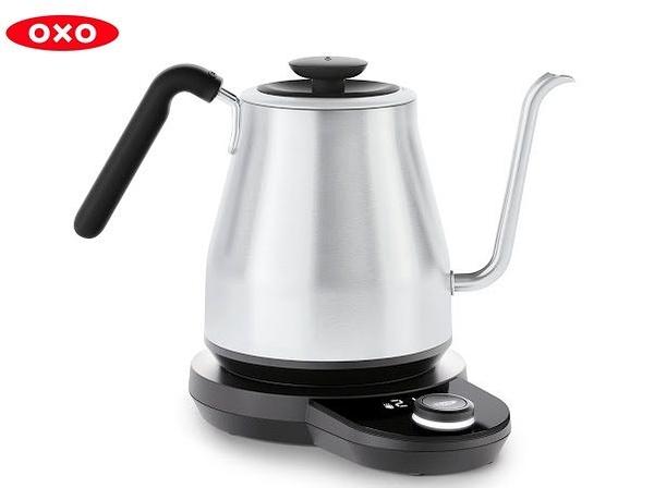 【沐湛咖啡】OXO 可調溫手沖電熱壺/溫控鶴嘴手沖壺/不銹鋼手沖溫控壺1.0L