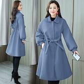現貨藍L中長款大衣外套風衣毛呢28103寬松顯瘦潮赫本風秋冬呢子大衣